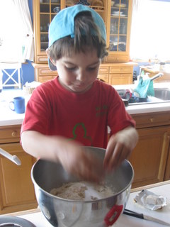 my favourite student, helping me make bread
