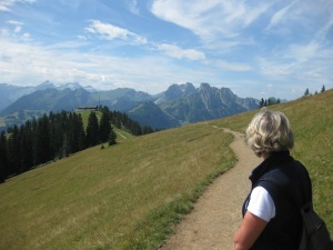 walking above the Rellerli, Bernese Oberland, by Sue Style