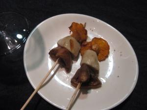 Skewered wild mushrooms (setas) from Celler de Can Roca