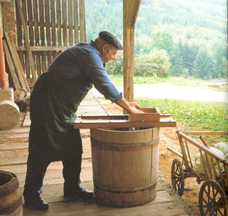 shredding cabbage for choucroute, by John Miller from A Taste of Alsace by Sue Style