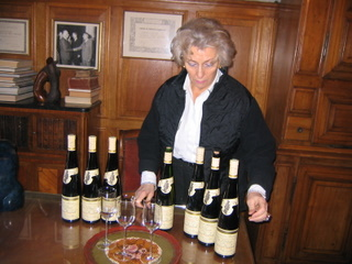 Madame Faller of Domaine Weinbach with a range of their wines