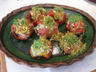 Sue Style's stuffed peppers with guacamole and prawns