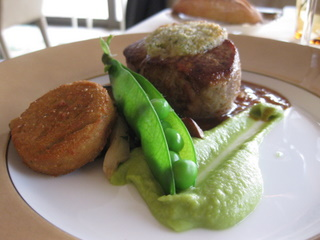 nugget of veal with spring green pea Auberge de l'Ill