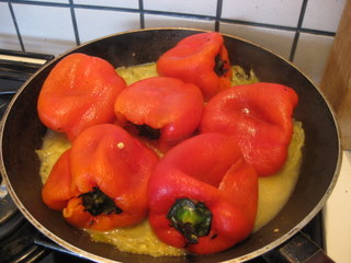 peeled peppers in pan
