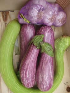 curly courgettes, stripey aubergines and fresh Emporda pink garlic