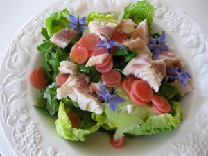 1-1-smoked trout, pickled radishes, lettuce, cucumber, borage