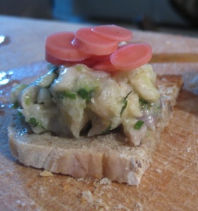 mackerel ceviche on country bread