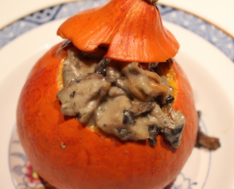 Sue Style's stuffed potimarron with mushroom ragout