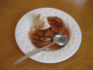 Sue Style's baked quince with honey ice cream