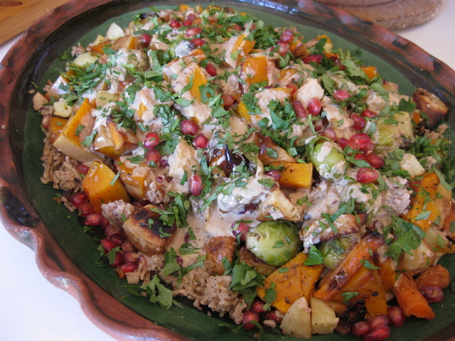 Sue Style's roast veg with Basmati and tahini dressing