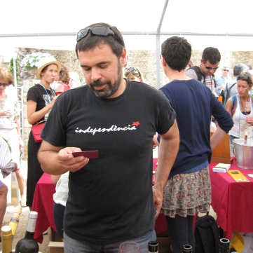 Wine maker David Molas (with Catalan independence tee-shirt)