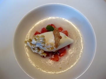 Iced elderflower 'soup' with strawberries and fromage blanc ice cream
