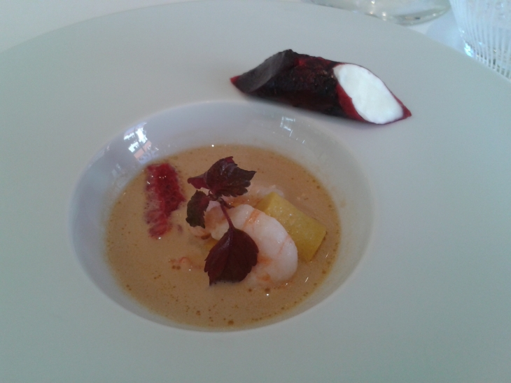 shrimp bisque with raspberries, Villa René Lalique, ©Sue Style