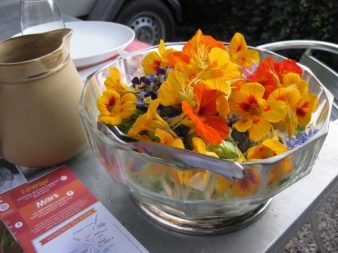 Nasturtium flowers on the breakfast table, photo Sue Style